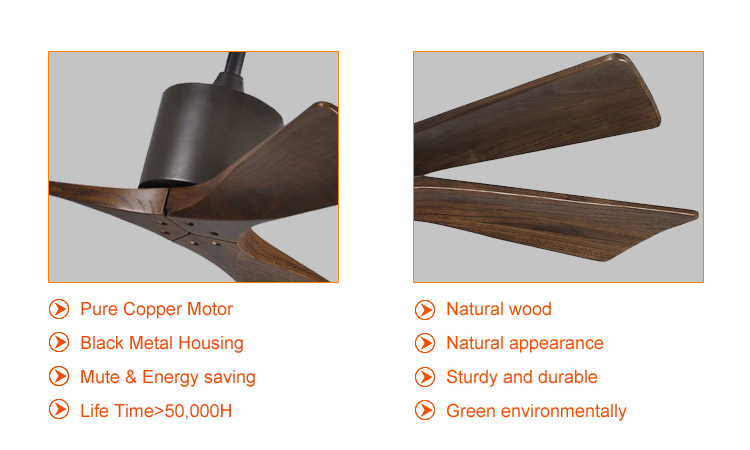 modern bedroom solid wood ceiling fan without light