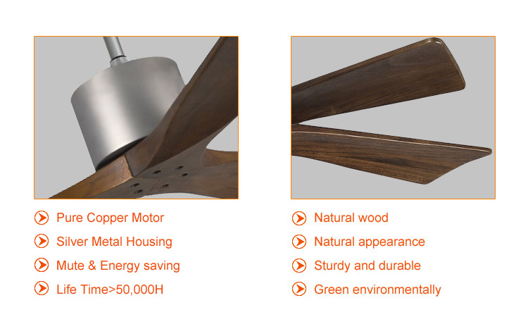 modern natural wood bedroom ceiling fan