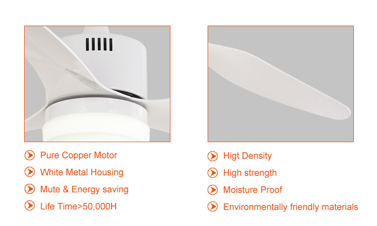 48 inch white modern light and fan,