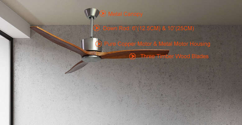 52in natural wood ceiling fan no light