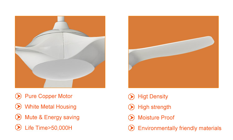 52 inch Energy saving mute white DC ceiling fans