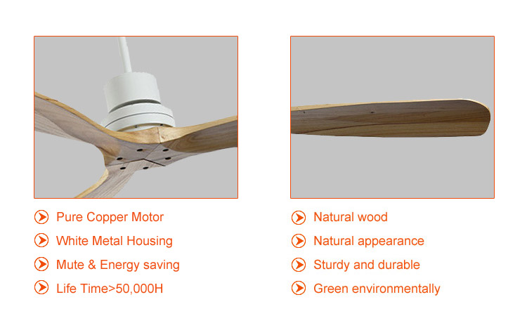 3 blade solid wood white ceiling fans with remote