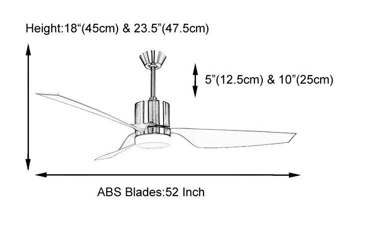 52 inch ABS blades brushed nickel ceiling fan light