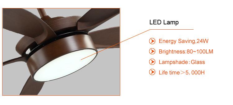 5 blades bedroom wood ceiling fans led light