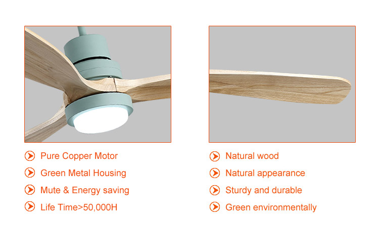 modern timber blade bedroom ceiling fan with light