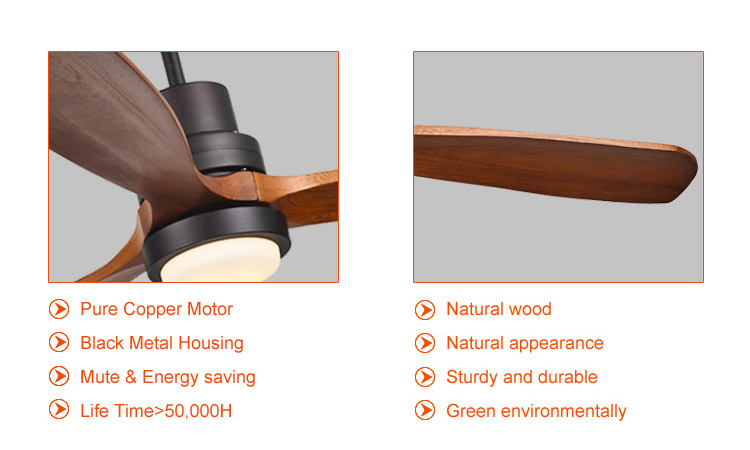 52 inch timber blade ceiling fan lights