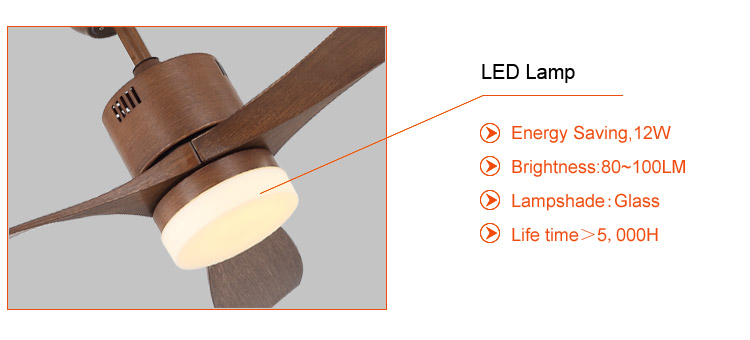 56 inch decorative wood ceiling fan with led lamp