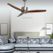brushed Nickel natural wood ceiling fan with remote